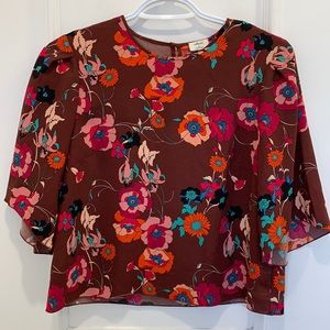 Wilfred Floral Cropped Blouse Size XS